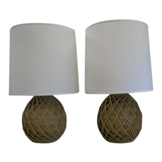 Vintage Metal Woven Lamps - A Pair