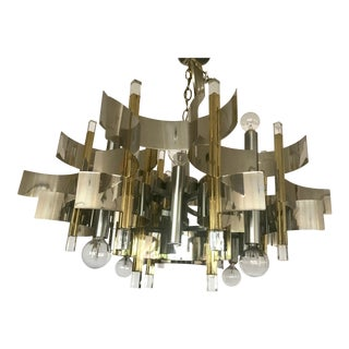 Gaetano Sciolari Brass, Chrome and Lucite Chandelier For Sale