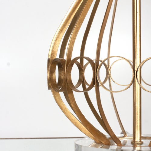 Worlds Away Contemporary Worlds Away Westin Lamp in Gold Leaf With Acrylic Base For Sale - Image 4 of 5