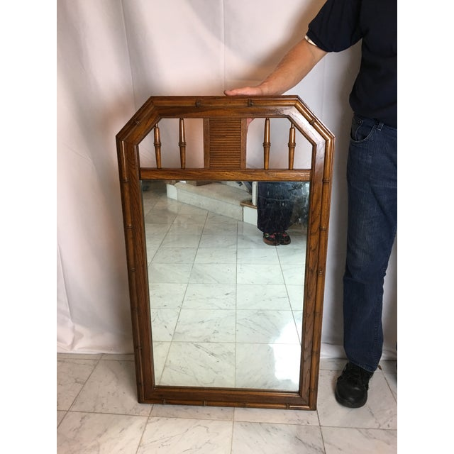 Brown 1960s Boho Chic Faux Bamboo Wood Mirror For Sale - Image 8 of 8