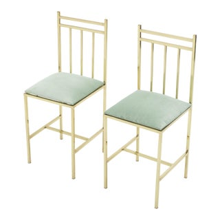 1960s Marc Duplantier Style Brass Childs Chairs - a Pair For Sale
