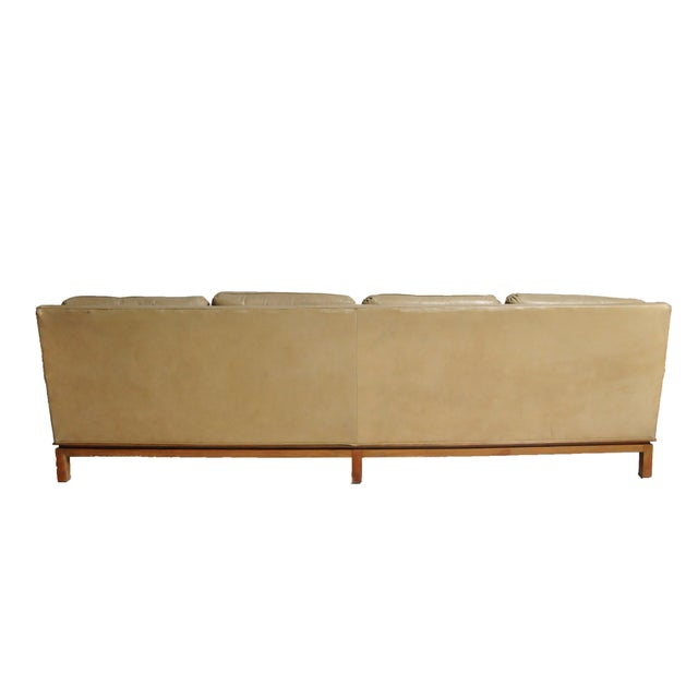 Excellent Mid-Century Modern Green Leather Sofa with Hardwood Base ...