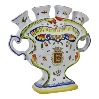 Cabourg Normandy Hand-Painted Faience Vase For Sale