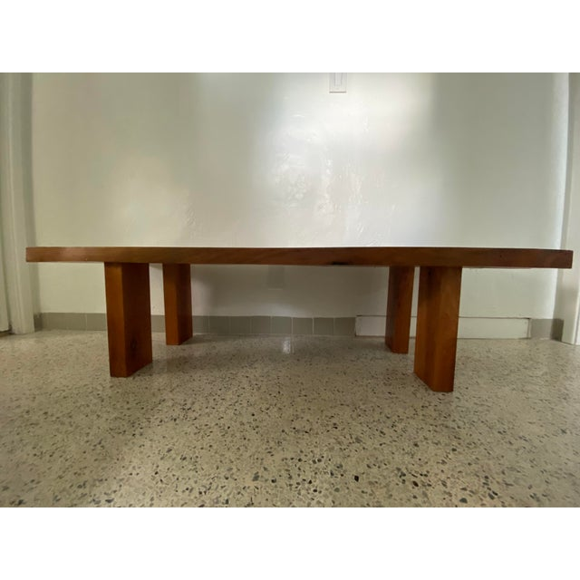 Absolutely stunning live edge teak slab bench or coffee table. Beautifully finished and in like new condition. Slab top is...