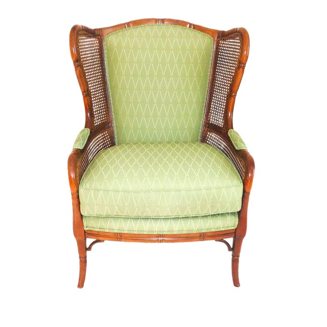 English Traditional Green Upholstered Faux Bamboo Wingback Chair For Sale