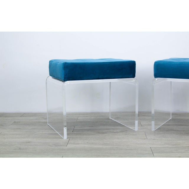 2010s Pair of Teal Waterfall Lucite & Velvet Benches For Sale - Image 5 of 7