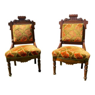 1960s Victorian Eastlake Style Parlor Chairs- a Pair For Sale