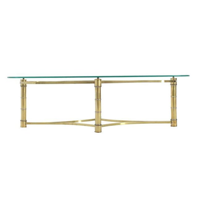 Brass and Glass Oval Coffee Table For Sale In New York - Image 6 of 7