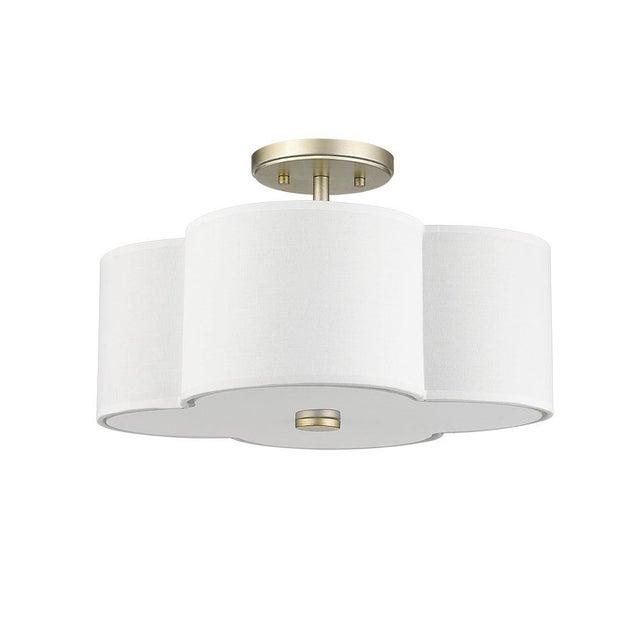 The Quatrefoil 3 Light Semi-Flush Ceiling, Champagne Gold For Sale - Image 4 of 4