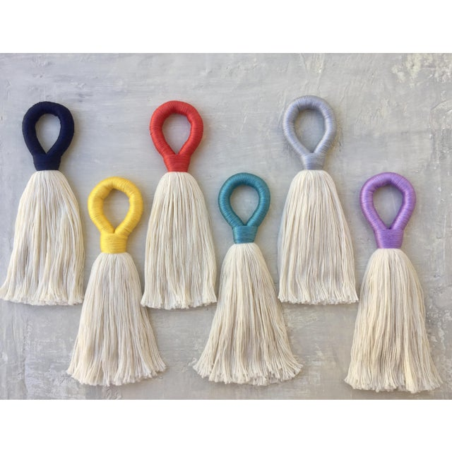 Our 'hula' handmade, solid color loop cotton tassel door or knob hangers are a quick & fun accessory to add to your door,...