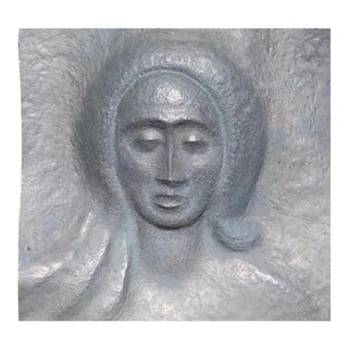 Modernist Lead Relief Garden Sculpture of Woman's Face For Sale