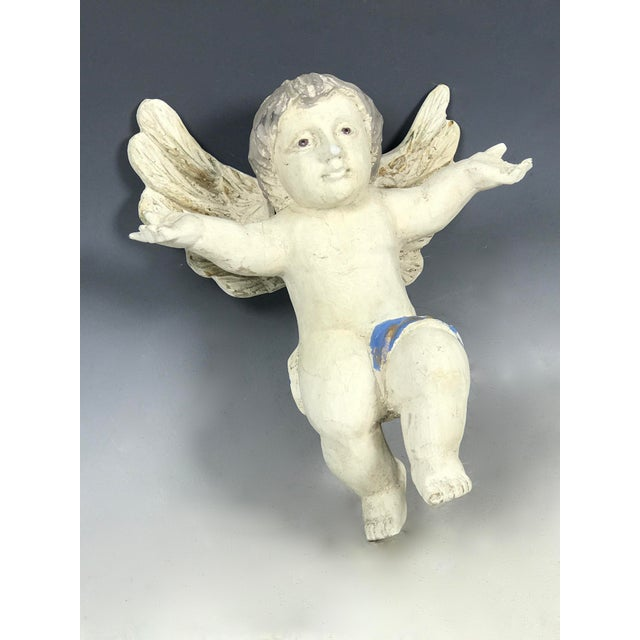 Handcarved Wood Hanging Angel For Sale In New York - Image 6 of 7
