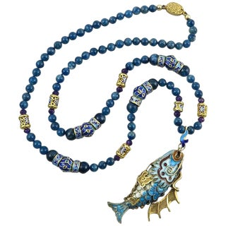 Chinese Export Vermeil Silver Enameled Dragon Fish Necklace. Apatite. 1980s. For Sale