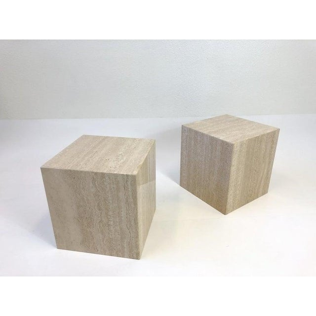 Hollywood Regency Italian Travertine Side Tables - a Pair For Sale - Image 3 of 10