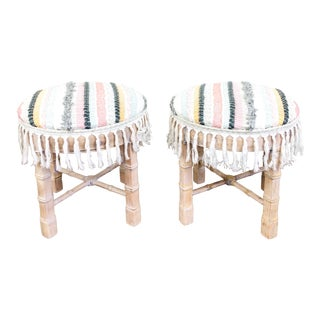 Vintage Faux Bamboo Drexel Boho Chic Ottomans / Stools, Pair For Sale