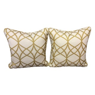 Gold and White Pillows - A Pair