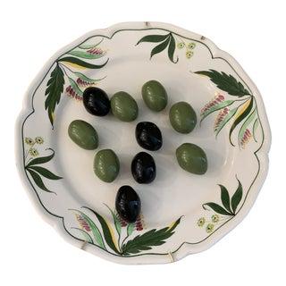 Tiffany Trompe L'oeil Italian Ceramic Olive Plate For Sale