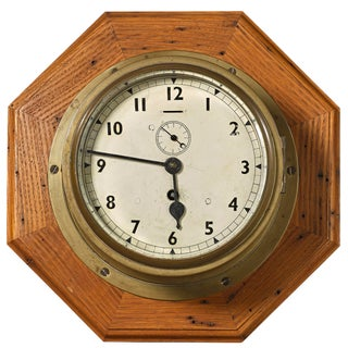 Antique Solid Brass Wall Mount Ships Clock For Sale