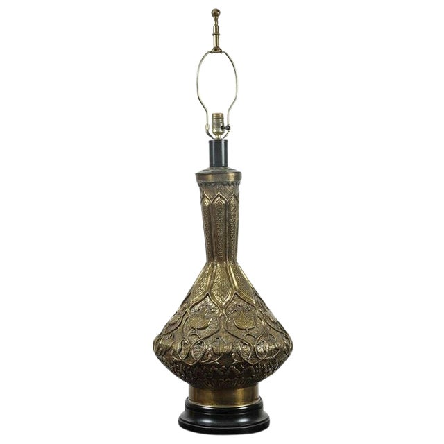 Moorish Indo Persian Brass Table Lamp For Sale