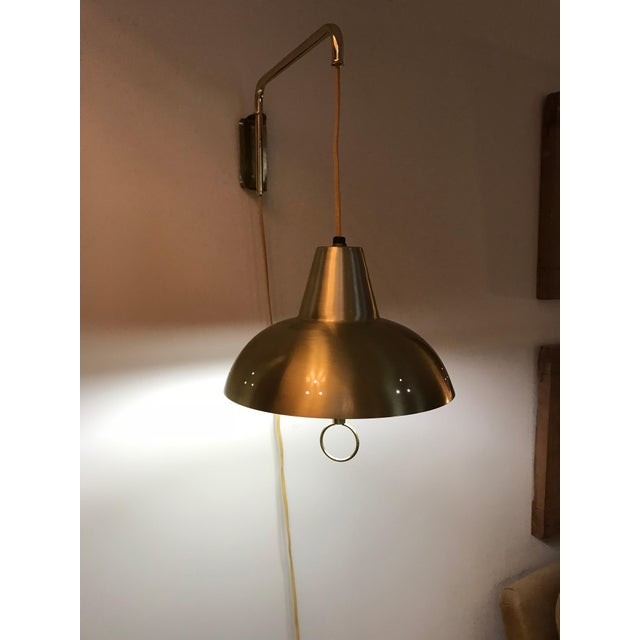 Gold Brass Mid-Century Wall Lamp For Sale - Image 8 of 10
