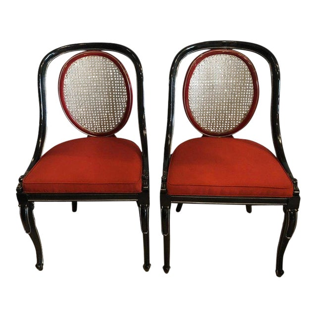 Pair of Ebony and Red Hollywood Regency Style Swan Head Arm or Office Chairs For Sale