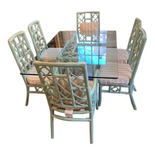 Chippendale Rattan Ficks Reed Dining Set - 7 Pieces For Sale