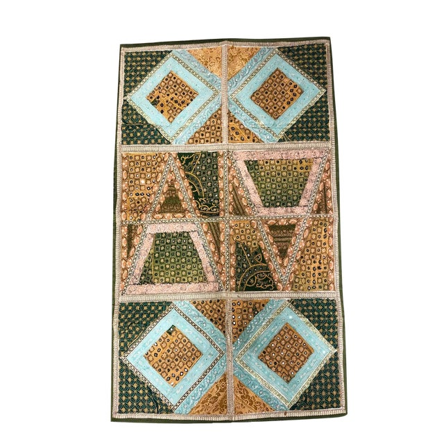 Vintage Home Decorative Sequin Bead Zari Work Hand Embroidered Antique Wall Tapestry For Sale