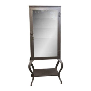 Stripped Steel Dental Cabinet With Cabriole Legs For Sale