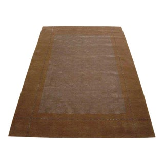 Hand Knotted Classic Geometric Rug - 6' X 9' For Sale