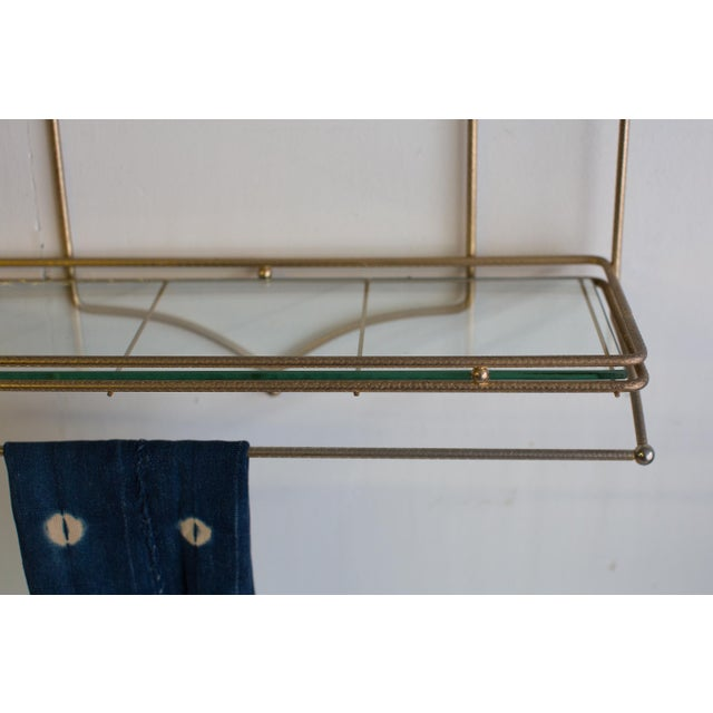 Art Deco Mid-Century Brass and Glass Hanging Wall Shelf For Sale - Image 3 of 4
