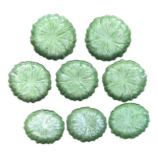 1970s Vintage Hand Painted Vintage Cabbage Plates- Set of 8 For Sale