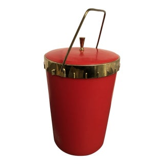 1970s Modern Red Ice Bucket For Sale