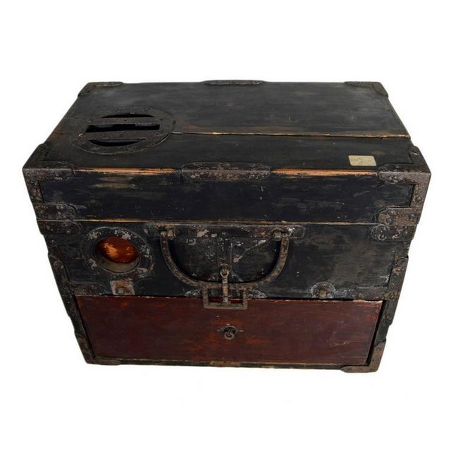 Antique Handmade Wood Money Box with Hardware from 19th Century, China For Sale In New York - Image 6 of 9
