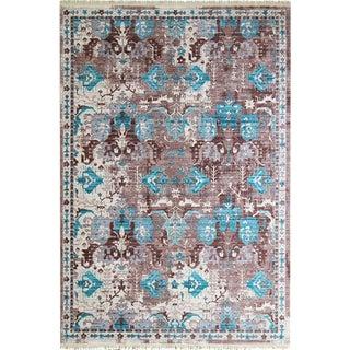 Picasso-Soft Turkish-Blue-Brown Rug - 5'3''x 7'7''