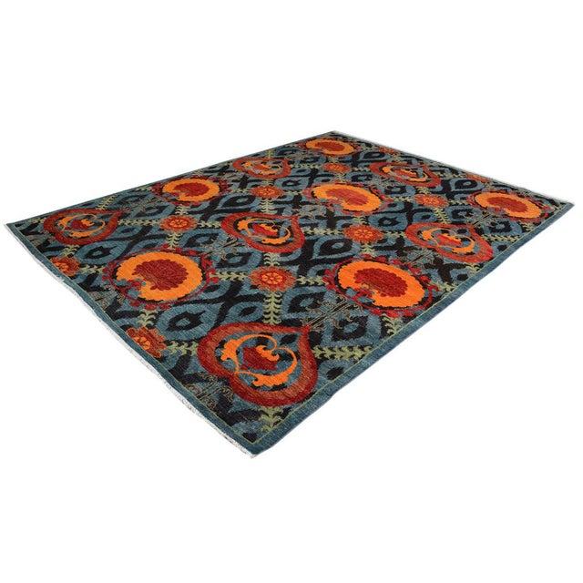 English Kafkaz Peshawar Zack Gray/Blue Wool Rug - 7'10 X 10'3 For Sale - Image 3 of 8