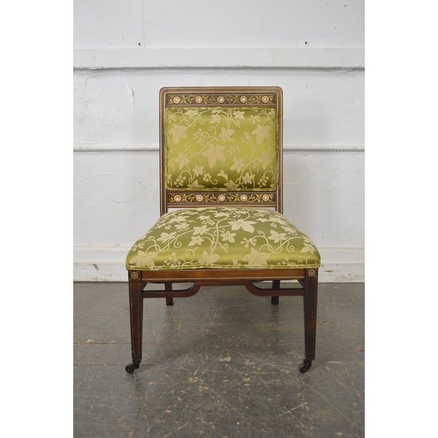 Herter Brothers Attributed Antique Aesthetic Inlaid Side Slipper Chair -  Image 12 of 13 - Herter Brothers Attributed Antique Aesthetic Inlaid Side Slipper