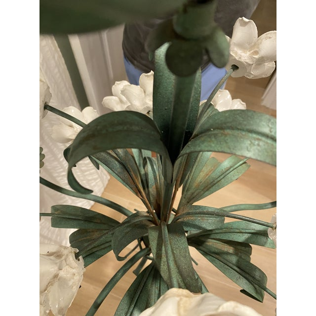 Vintage Metal Floral Chandelier With Porcelain Flower Details by Underwriters Laboratories For Sale In West Palm - Image 6 of 10