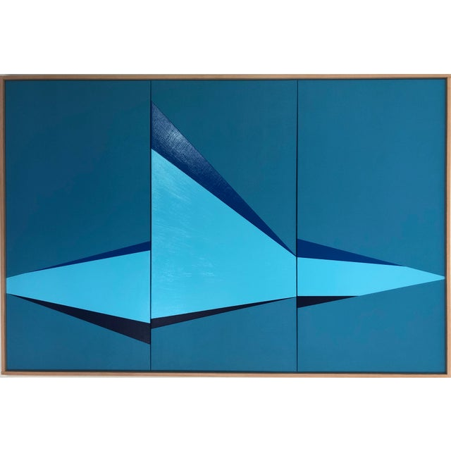 "2010s Original Acrylic Painting ""Blue on Point Triptych Jet0564"" For Sale - Image 5 of 5"