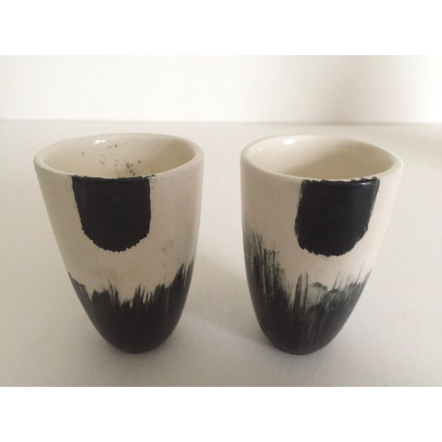 White Vintage African Black & White Handcrafted Pottery Decanter Bottle & Cups - 4 Piece Set For Sale - Image 8 of 10