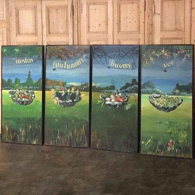 Realism Set of 4 Large Scale Vintage Four Seasons Paintings For Sale - Image 3 of 12