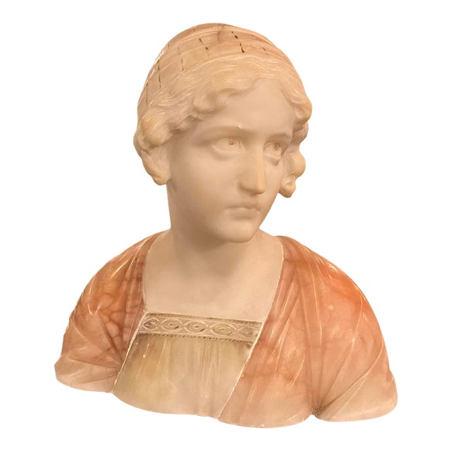 Antique Carved Italian Pink Alabaster Bust of Mignon by Prof. Giuseppe Bessi For Sale