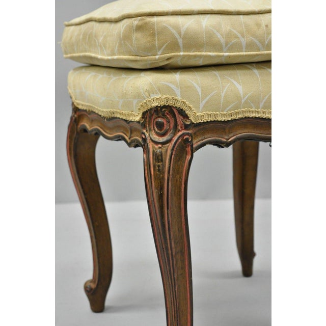 Vintage French Provincial Louis XV Style Upholstered Stool Bench For Sale In Philadelphia - Image 6 of 10