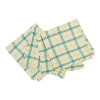 Vintage Window Pane Plaid Cotton Napkins - Set of 4 For Sale