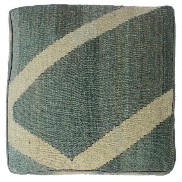 Arshs Daniel Gray/Ivory Kilim Upholstered Handmade Ottoman For Sale - Image 4 of 8