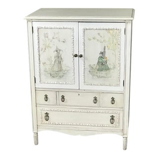Vintage Adams Style Painted Chinoiserie Lingerie Chest of Drawers Cupboard For Sale
