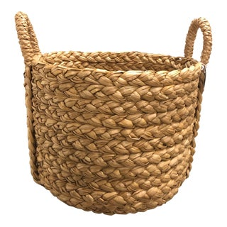 Braided Wicker Basket With Braided Handle For Sale