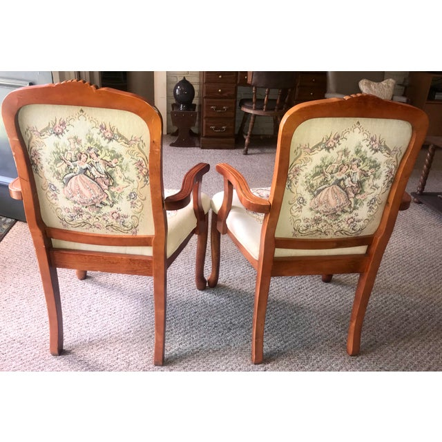 French Provincial Tapestry Salon Chairs - A Pair For Sale - Image 11 of 13
