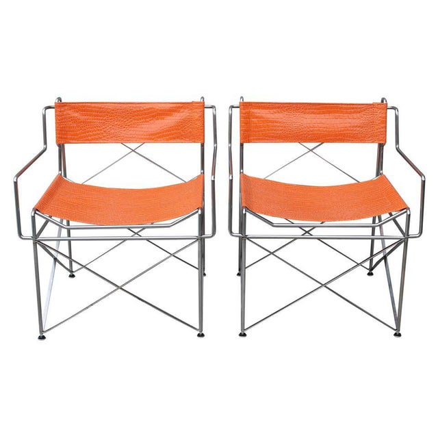 Orange Faux Alligator Orange Chairs- A Pair For Sale - Image 8 of 8