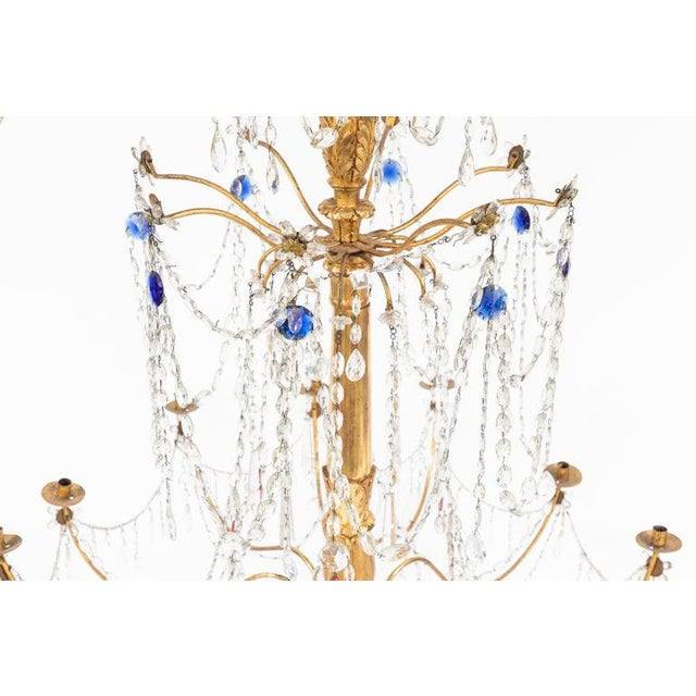 Gold 18th Century Italian Giltwood and Gilded Iron Chandeliers - a Pair For Sale - Image 8 of 12
