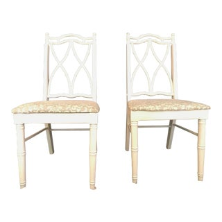Vintage Mid Century Faux Bamboo Chinoiserie Dining Chairs - A Pair For Sale